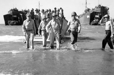 MACARTHUR WALKS ON BLUE BEACH